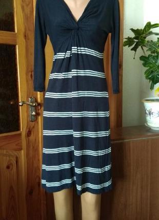 Синее платье с завышенной талией в морском стиле #трикотаж#размер 10-м