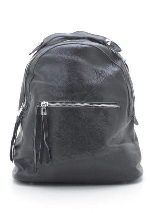 Новый женский чёрный кожаный рюкзак
