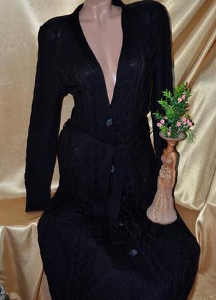Стильный черный вязаный кардиган в пол , под пояс
