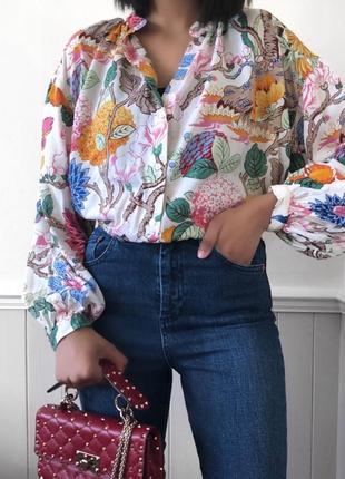 Эксклюзивная коллекция натуральная легкая блуза цветочный принт от h&m и gp & j baker