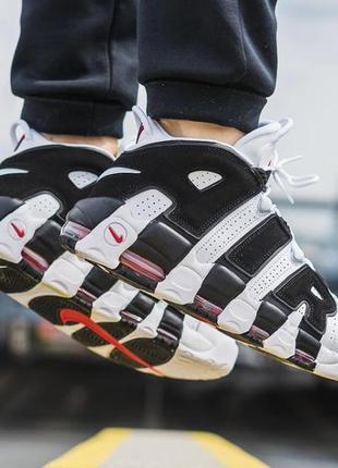 Шикарные мужские кроссовки nike air more uptempo white black чёрные с белым