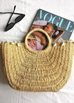 Винтажная соломенная сумка с ракушками из соломы кошелка сумочка плетёная винтаж
