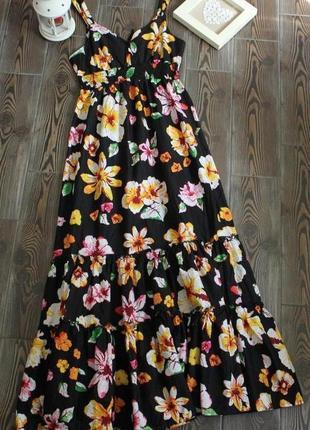 Длинное макси платье сарафан с цветочным принтом в стиле бохо этно