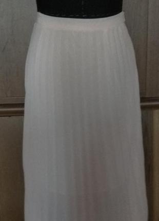 Шикарная юбка плиссе ,в пол,светло розовая  шифон.