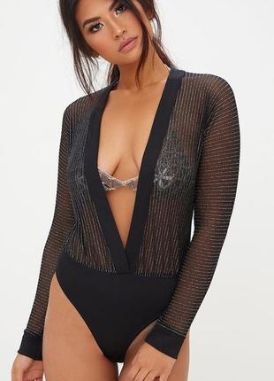 Сексуальное прозрачное боди блуза prettylittlething