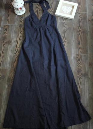 Длинное льняное платье сарафан макси с открытой спиной под джинс