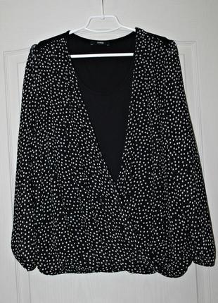Красивая комбинированная блуза в принт