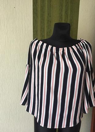 Блузка в полоску с открытыми плечами ,рукава клёш