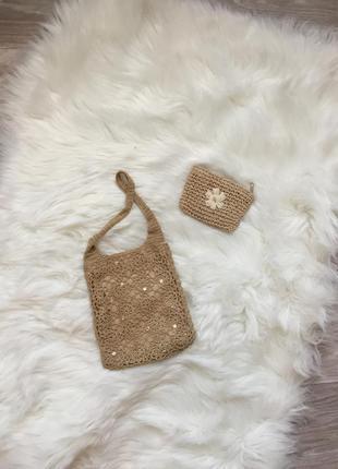 Вязаная сумочка с кошельком
