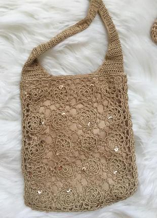 Вязаная сумочка с кошельком5 фото
