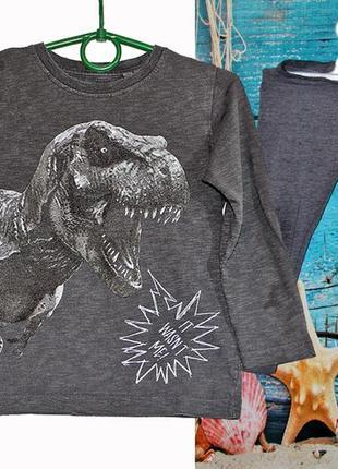 Модная футболка с динозавром next + подарок трикотажные штаны next на 3 года