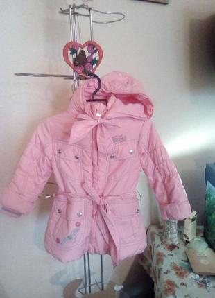 Нежно-розовое весенне-осеннее пальто-курточка на девочку