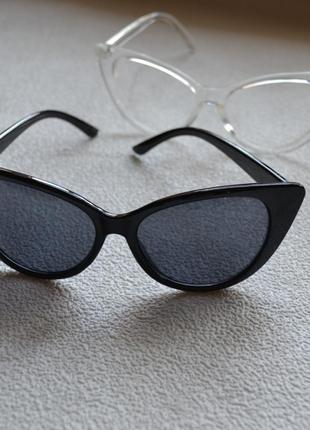 Солнцезащитные очки cat eye кошачьи глазки черные кошачий глаз