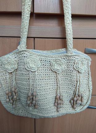 Вязанная сумка с декором