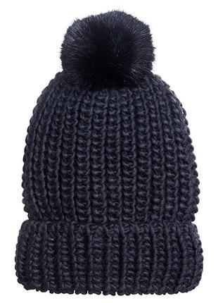Оригинальная шапка рельефной вязки от бренда h&m разм. one size