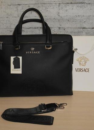 Сумка мужская портфель в стиле versace (версаче) кожа, италия 262201