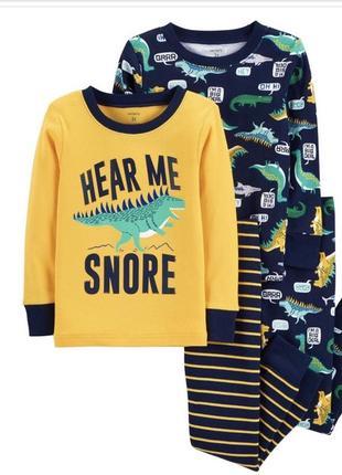Детская пижама комплект картерс carter's для мальчика с динозаврами 3t 92-98