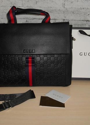 Сумка мужская двухсторонняя, портфель в стиле гуччи gucci, кожа, италия 9905