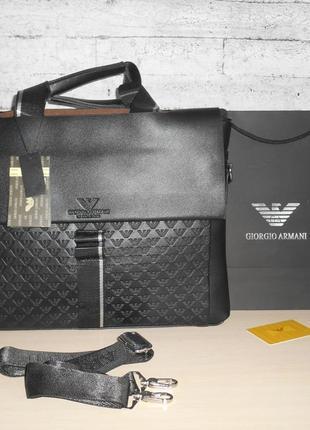 Сумка-портфель мужская в стиле armani, кожа, италия 9905-3