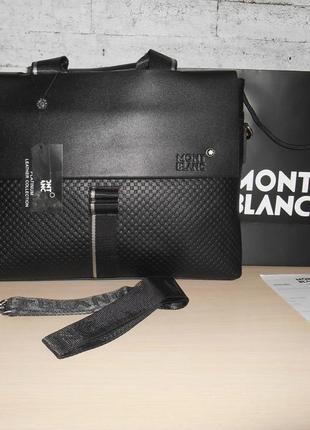 Сумка мужская, портфель mont blanc, кожа, италия 99053