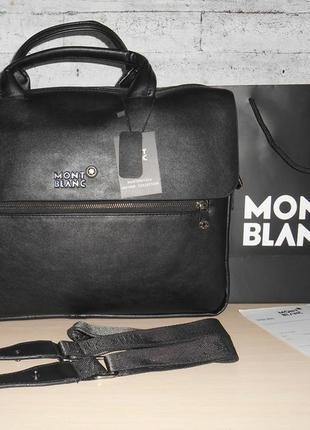 Сумка мужская, портфель mont blanc, кожа, италия 9904