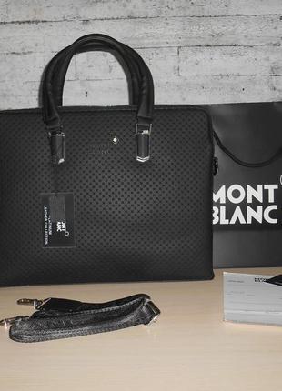 Сумка мужская, портфель mont blanc, кожа, италия 2020