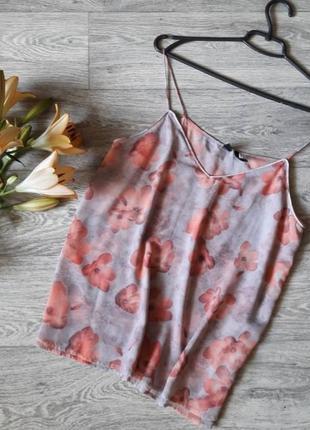 Нежная шифоновая майка в цветочный принт 12рр