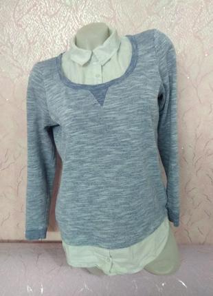 Кофточка имитация джемпер+рубашка new look