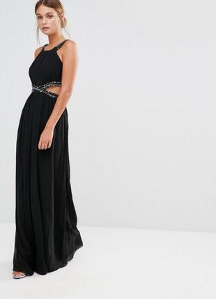 Оригинальное шикарное синее платье с камнями