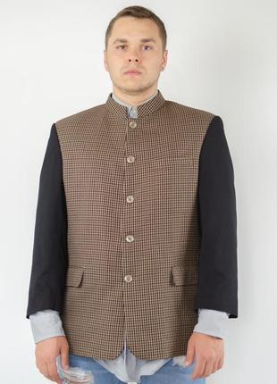 Винтажый мужской пиджак в узор гусиной лапки с воротом мандарин4 фото