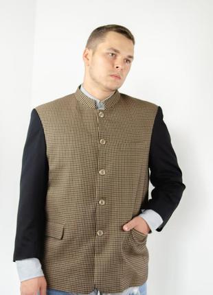 Винтажый мужской пиджак в узор гусиной лапки с воротом мандарин2 фото