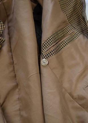Винтажый мужской пиджак в узор гусиной лапки с воротом мандарин5 фото
