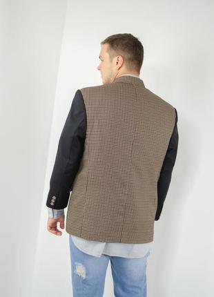 Винтажый мужской пиджак в узор гусиной лапки с воротом мандарин3 фото