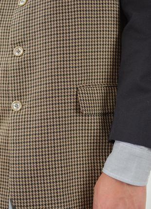 Винтажый мужской пиджак в узор гусиной лапки с воротом мандарин6 фото