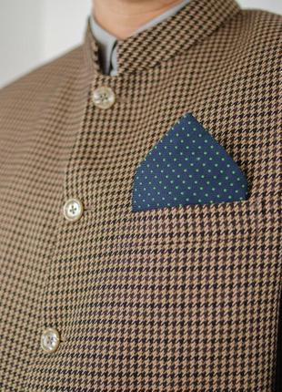 Винтажый мужской пиджак в узор гусиной лапки с воротом мандарин7 фото