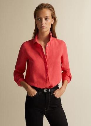 Шелковая рубашка,блуза морковного цвета от st.michael from m&s-100% шелк