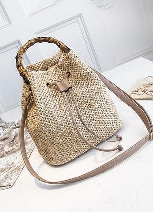Плетеная сумка - мешок