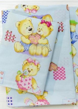 Постельное белье в детскую кроватку голубого цвета