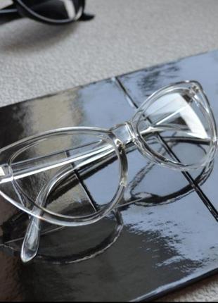 Прозрачные очки кошачий глаз cat eye декоративные кошачьи глазки с прозрачной оправой