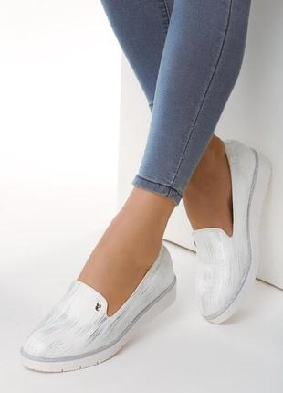 Новые женские белые лоферы туфли на низком ходу