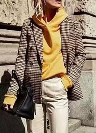 2019 модный клетчатый женский ретро пиджак с подплечниками.