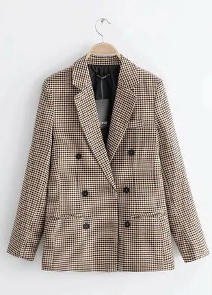 2019 модный клетчатый женский ретро пиджак с подплечниками.4 фото