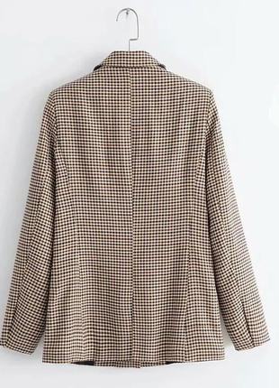 2019 модный клетчатый женский ретро пиджак с подплечниками.5 фото