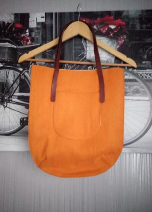 Яркая фирменная сумка шоппер gap