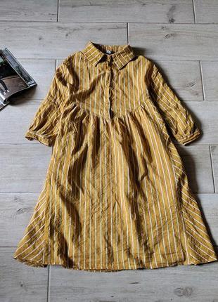 Стильное платье в полоску с карманами свободного кроя oversize m l xl