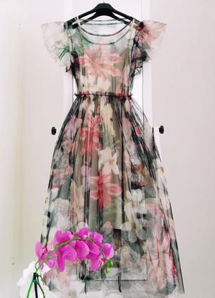 Платье в цветок из италии