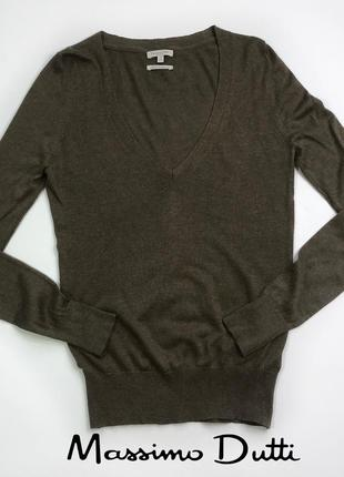 Тонкий шелковый коричневый пуловер свитер от massimo dutti размер s/36/30.