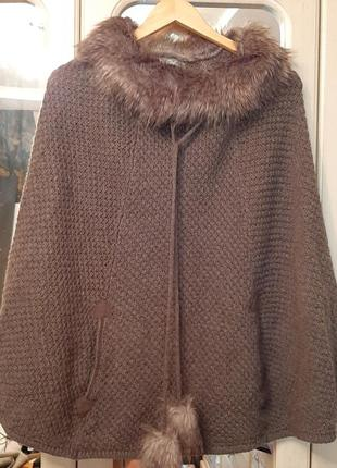 Пончо вязаное colin's  отделка мехом