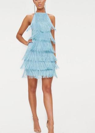Голубое платье футляр  halterneck с кисточками бахромой