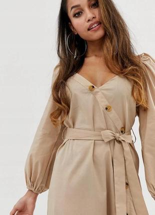 Boohoo petite романтична бежева віскозна сукня